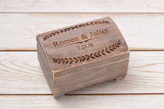 Rustic Wedding Ring Box Ring Bearer Box Wedding Ring Box Ring Holder Custom Ring Box Personalized Wedding Box by InesesWeddingGallery on Etsy