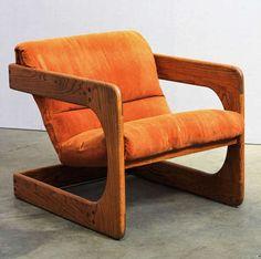 1970s Walnut Lounge Chairs in Burnt Orange Velvet   Design: Lou Hodges