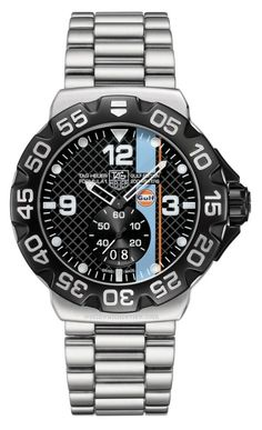 TAG Heuer Formula 1 Grand Date watch in Gulf Oil racing colors