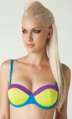 Blue bra with two tone neon cups by L.A. Roxx