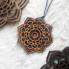 $19.99 - Mandalla Statment Necklace  This Large Mandalla Statement Necklace is made of 1/8 alder wood. Natural wood coloring.