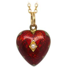Pre-owned Victorian Era Enamel Gold Heart Locket ($1,495) ❤ liked on Polyvore featuring jewelry, necklaces, vintage, drop necklaces, gold heart necklace, 14k yellow gold necklace, vintage gold locket, red heart necklace and gold pendant necklace