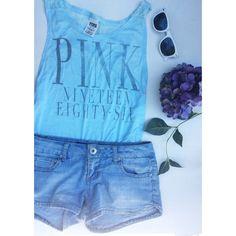 🎉HOST PICK 🎉 PINK Victoria Secret Muscle Tank Blue lace muscle tank by PINK Victoria Secret. Size XS. Letter is a little faded but still in great condition! PINK Victoria's Secret Tops Tank Tops