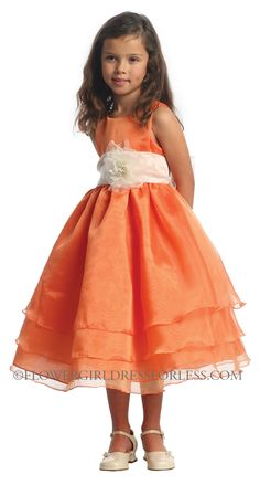 CA_D574OR - Girls Dress Style 574 - ORANGE Dress with Choice of 70 Sash and Flower Options - Corals, Peaches, Oranges - Flower Girl Dress For Less