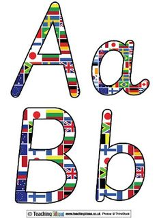 world flag printable letters