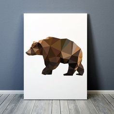 Geometric bear poster. Lovely animal art. Colorful decor. Beautiful animal art. Available in two sizes: A4 (8.2x11) and A3 (11.6x16.5). Will fit standard A4/A3 frames and mattings. BUY 1 GET 1 FREE - use coupon code BOGOF7 at checkout. Same design with dictionary text: https://www.etsy.com/uk/listing/234266480/grizzly-bear-print-modern-art-colorful Displayed print is either mounted on a hard card backing or put in a frame. The actual print comes without frame or backing. Please note that ...
