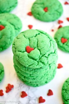 These Grinch cookies are festive, cakey cookies that bear a strong resemblance to a certain Christmas Grinch! In 20 minutes they'll be ready to add to your cookie platter alongside chocolate sugar cookie cut-outs and chewy ginger molasses cookies. Christmas Cookies Grinch, Grinch Cookies, Holiday Cookies, Christmas Desserts, Christmas Holidays, Christmas Treats, Christmas Appetizers, Christmas Goodies, Christmas Traditions