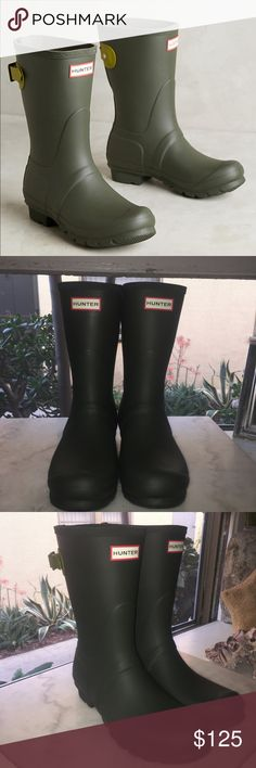 Hunter Olive Green Cropped Boots Size 10 Hunter Brand Olive Green Boots. Brand New Never Worn Hunter Boots Shoes Winter & Rain Boots