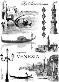 VENEZIA Venice ITALY gondola  Set of by cherrypieartstamps on Etsy, $24.00