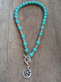 Turquoise magnesite necklace  Magnesiitti - Helmien talo
