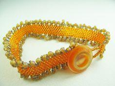 Orange Beadwork Bracelet with Vintage Button - SRAJD