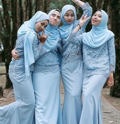 Satin Model Kebaya Muslim, Kebaya Modern Hijab, Model Kebaya Modern, Kebaya Hijab, Hijab Style Dress, Casual Hijab Outfit, Blue Bridesmaid Dresses, Hijab Fashion, Womens Fashion