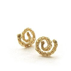 Spiral Lace Stud earrings in gold by YooLa