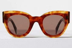 Celine - Petra Dark Havana Acetate Sunglasses, Brown Lenses