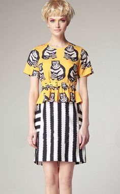 Yellow Short Sleeve Cat Peplum Top with Striped Skirt