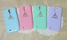 Deathly Hallows galaxy S3 S4 Case, galaxy S4 case, galaxy S3 case, Silver Harry Potter samsung case, mint s III IV case -4 colors to choose