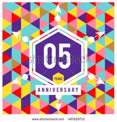 5th years greeting card anniversary with colorful number and frame. logo and icon with Memphis style cover and design template