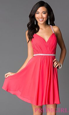 Short Open Back Sweetheart Dress 7663 by Faviana at PromGirl.com