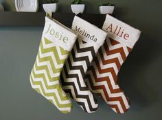 Maybe next year or when the kids can pick their favorite color!    Personalized Christmas Stocking  Natural Chevron by stitchery33, $30.00