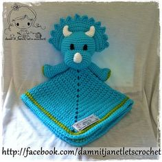 """Triceratops Security Blanket (Size 17"""" by 17"""") - PDF Crochet Pattern - Instant Download"""