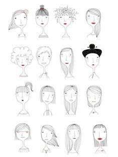 Elichkata ladies diy アート, character illustration, hair illustration, people illustration, line art Doodle Drawings, Doodle Art, Easy Drawings, People Illustration, Illustrations, Illustration Art, Character Illustration, Illustration Mignonne, Drawn Art