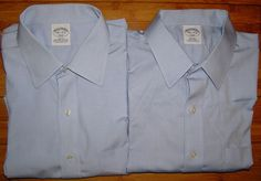 Brooks Brothers Lot of 2 Blue Men's Slim Fit Non Iron Stretch Shirts Size 16.5  #BrooksBrothers
