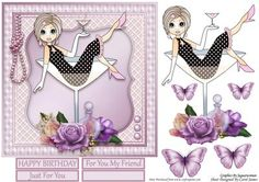 Cocktail Emma 2 on Craftsuprint designed by Carol James - A girly card front for any ladies in your life. Comes with decoupage pieces for a 3d effect. Butterflies to be placed as you please.3 sentiment tags is provided for placing on the heart or use your own sentiment. Greetings included are:Happy Birthday For You My FriendJust For YouCan be used for a variety of occasions. - Now available for download!