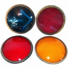 Vintage Traffic Signal GLASS LENSES Convex 8.5
