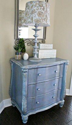 glamorous metallic sky blue dresser makeover