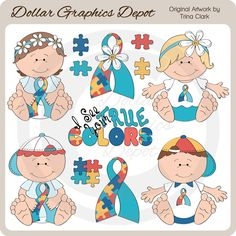 Autism Awareness Babies 1 - Clip Art - $1.00 : Dollar Graphics Depot, Quality Graphics ~ Discount Prices : Great for printable crafts, scrapbook pages, web graphics, greeting cards, newsletters / flyers, signs / banners, bumper stickers, printable photo frames, water bottle labels, candy bar wrappers, iron-on transfers, coffee mugs, magnets, and much more!
