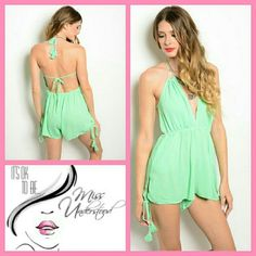 Mint Romper Stay cool this summer in this trendy romper. Beautiful mint color and detailed with tassels on the tie closures. Top area is lined. Made of 100% Rayon.   THIS IS THE EXACT ROMPER AS SHOWN ON THE MODEL  Sizes available: Small & Medium.   If you want the romper to fit as shown on the model then I suggest going a size up. MissUnderstood Boutique Pants Jumpsuits & Rompers