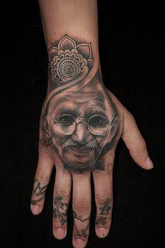 Black and Grey Portrait Tattoo of Gandhi by Ryan Mullins -  Black and Grey hand portrait of gandhi.  H2ocean,Inkeeze,Ron Meyers GreyWash,Stencil