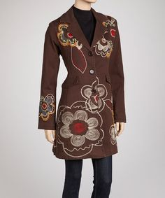 Take a look at this PAPARAZZI Brown Floral Swirl Embroidered Coat on zulily today!