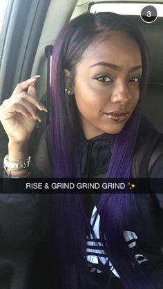 Love the purple in her hair! Dope Hairstyles, Weave Hairstyles, Pretty Hairstyles, Relaxed Hairstyles, Hairdos, Blood Red Hair, Fox Hair Dye, Dramatic Hair, Natural Hair Styles