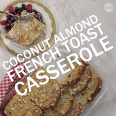 The buttery coconut-almond crust makes this French toast casserole truly special and offsets the creamy, fluffy texture of the bread. You'll want to assemble the dish the day before to give the bread time to soak in the custard.