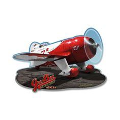 From the Larry Grossman licensed collection, this Gee Bee Racer custom metal shape measures 17 inches by 12 inches and weighs in at 3 lb(s). We hand make all of our custom metal shapes in the USA using heavy gauge american steel and a process known as sublimation, where the image is baked into a powder coating for a durable and long lasting finish. This custom metal shape is drilled and riveted for easy hanging.