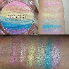 Here are some quick swatchesof the Forever21 rainbow highlighter.Bottom pic is with flash.It is late night over here so couldn't show you a pic with direct sunlight