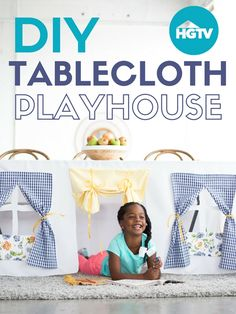 Watch: DIY No-Sew Tablecloth Playhouse>> http://www.hgtv.com/videos/diy-tablecloth-playhouse-0280775?soc=pinterest