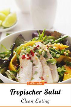 Tropischer Salat mit Hähnchen - smarter - Kalorien: 390 kcal - Zeit: 50 Min. | eatsmarter.de #salat #tropisch #huhn Eat Smarter, Dressings, Green Beans, Clean Eating, Vegetables, Cooking, Food, Chef Recipes, Lunches