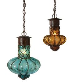 Hacienda Pendant lamps - Would be pretty in an outdoor setting, they come in the colors of Amber and Turquoise.