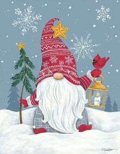 Christmas Scenes, Christmas Gnome, Christmas Art, All Things Christmas, Winter Christmas, Vintage Christmas, Christmas Decorations, Christmas Ornaments, Christmas Drawing
