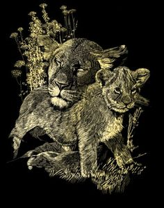Reeves Scraperfoil Lioness and Cubs (Gold) >>> Read more reviews of the product by visiting the link on the image.