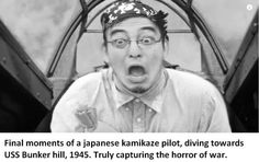Final moments of a japanese kamikaze pilot, diving towards USS Bunker hill, Trulv capturing the horror of war. Fake History, History Jokes, Top Memes, Dankest Memes, Funny Memes, Funny Gifs, Kamikaze Pilots, Filthy Memes, Funny Cute