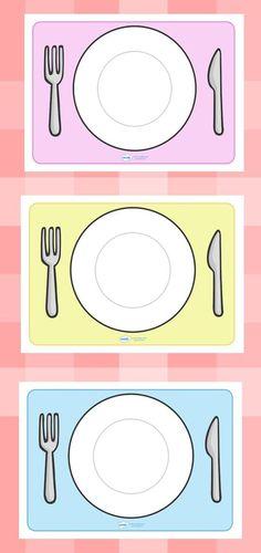 bord en bestek gelamineerd als placemat voor de huishoek:
