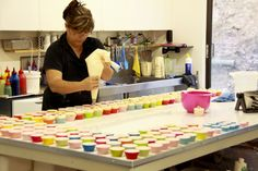 Sharon piping the tops of cupcake soaps at Platypus Dreams Australia. great soaps