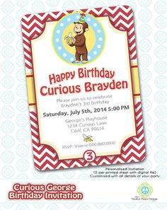 Curious George Birthday Invitation  DIY by MasterPeaceDesigns, $7.00