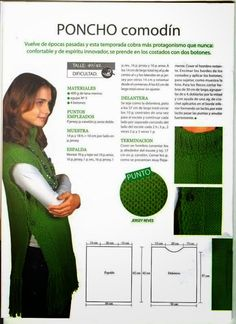 Poncho Comodín - would love to find in English. Crochet Scarves, Crochet Shawl, Crochet Clothes, Crochet Stitches, Knit Crochet, Loom Knitting, Knitting Patterns Free, Knit Patterns, Knitting Projects