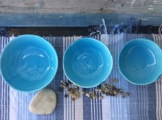 Handmade ceramic Salad Bowls, stamped with Sea motives and glazed one by one, so one piece is not like the other. With different sizes: 24cm, 21cm and 18cm. Ideal for your home to give a chic and modern touch to your table!
