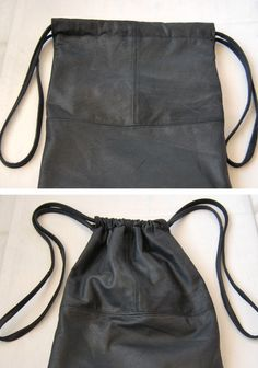 leather drawstring bag - diy tutorial