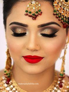 Bridal makeup for Barat gold smoky eye makeup and red lips MUA saleha abbasi